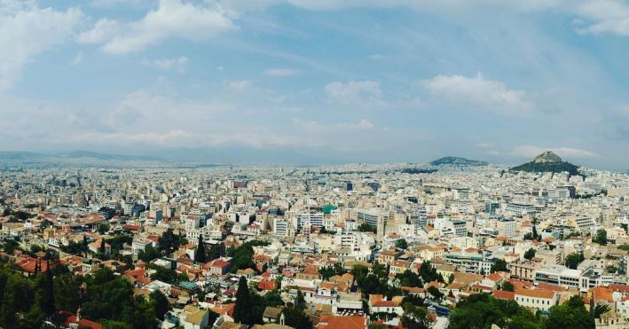 Athens, Greece, as seen from the top of the Acropolis, 2016.